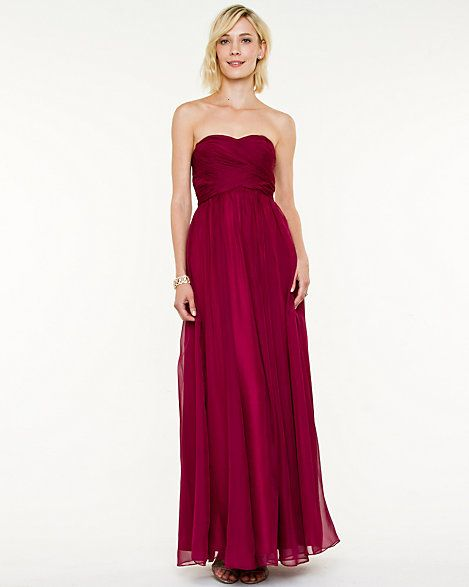 Chiffon Pleated Sweetheart Gown at le Chateau (shown in the colour wine)
