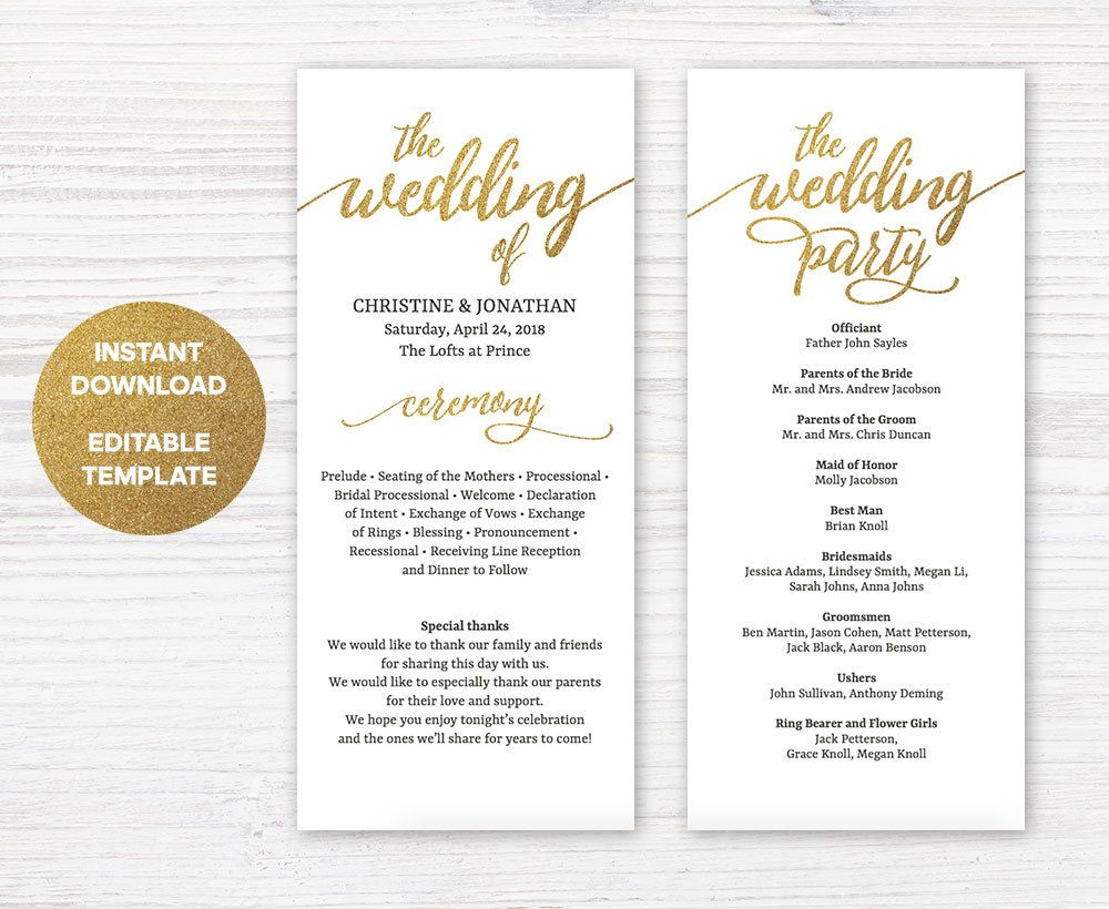Faux Gold Wedding Program Template, Printable Wedding