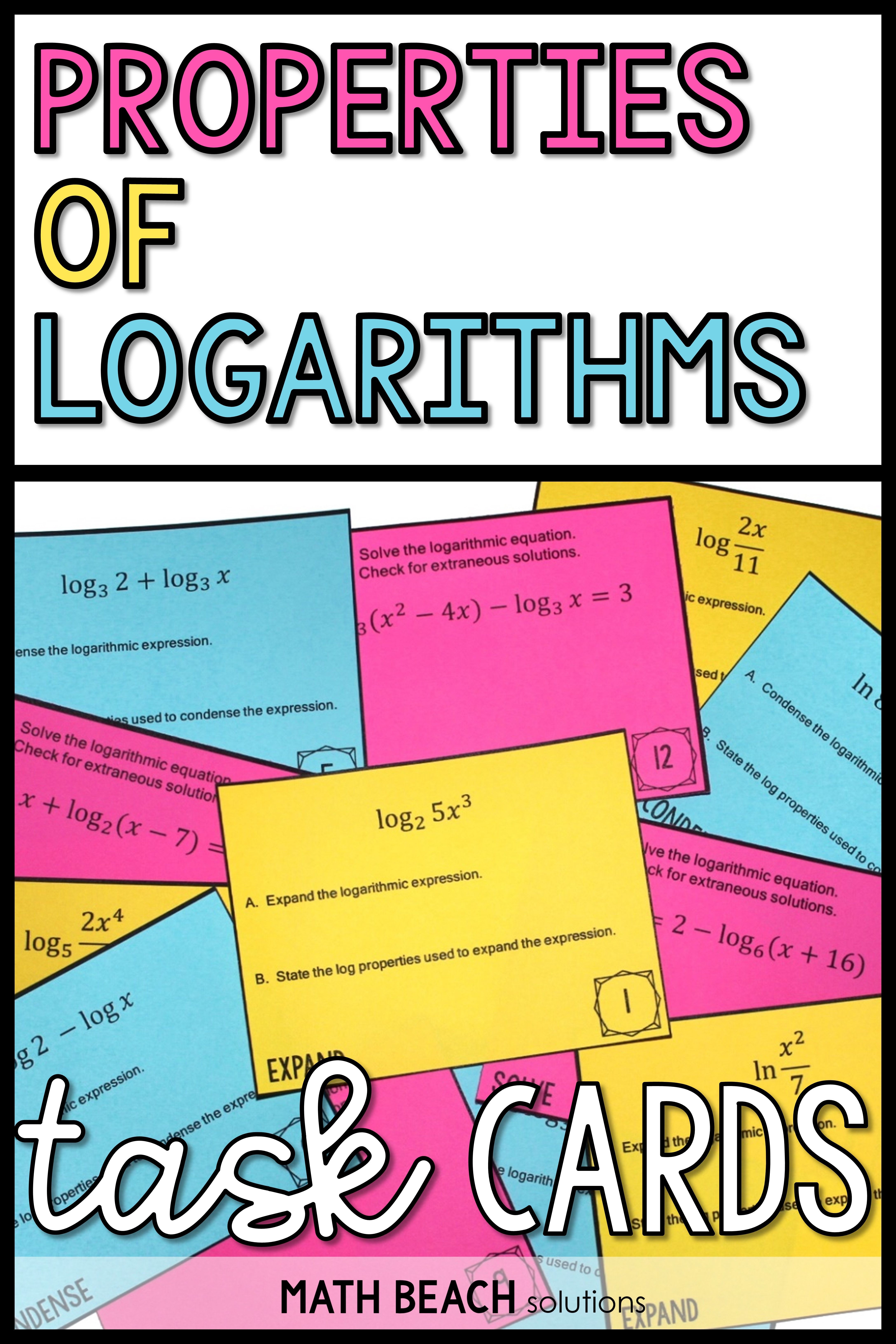 Properties Of Logarithms Task Cards Activity