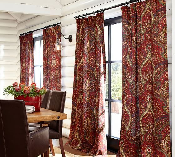 Mira Paisley Linen Cotton Curtain Decor Design Gardinen