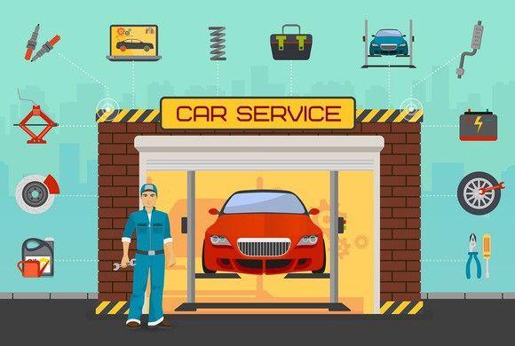 Car repair service center concept.. Business Infographic