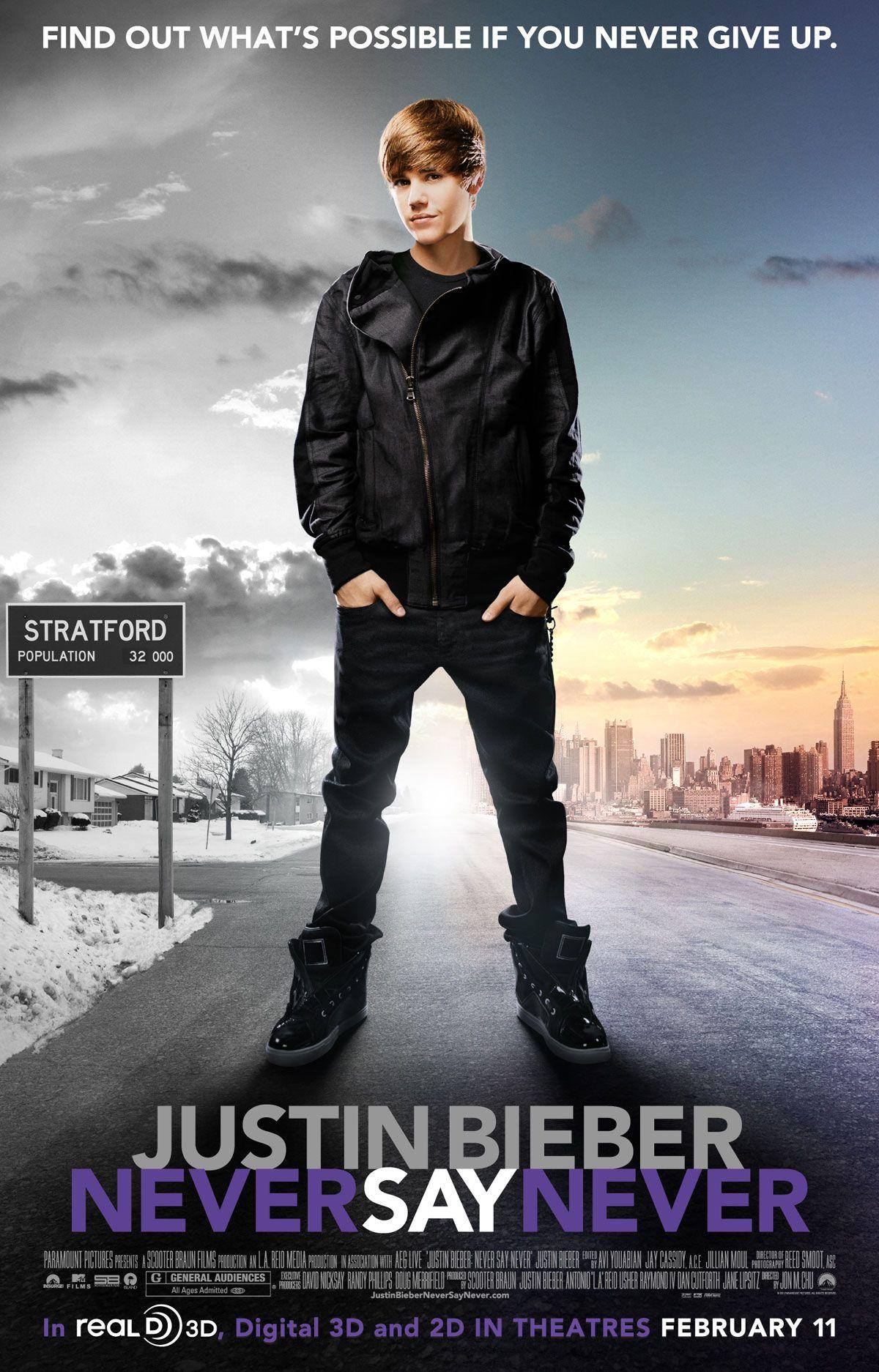 Justin Bieber Never Say Never Starring Justin Bieber Boys Ii Men Miley Cyrus Sean Kingston Follows Justin Bieber Justin Bieber Promo Flyer Mundo Musical