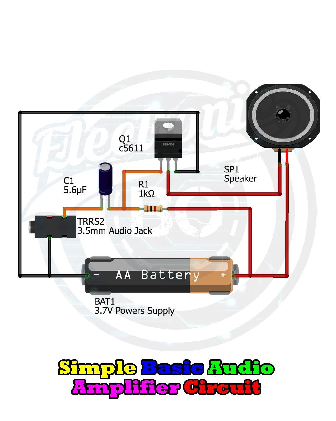 Simple Basic Audio Amplifier Circuit Using Npn Transistor Audio Amplifier Electronic Circuit Projects Electronics Mini Projects