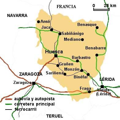 Mapa de la provincia de Huesca, con las principales ciudades y ...