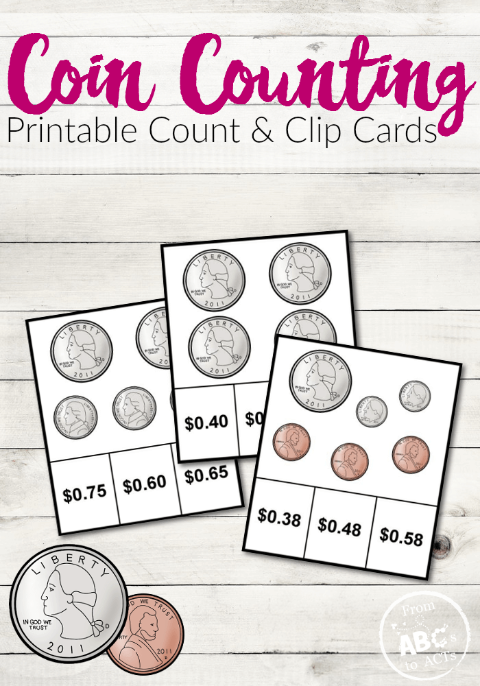 Coin Counting Printable Count And Clip Cards From Abcs