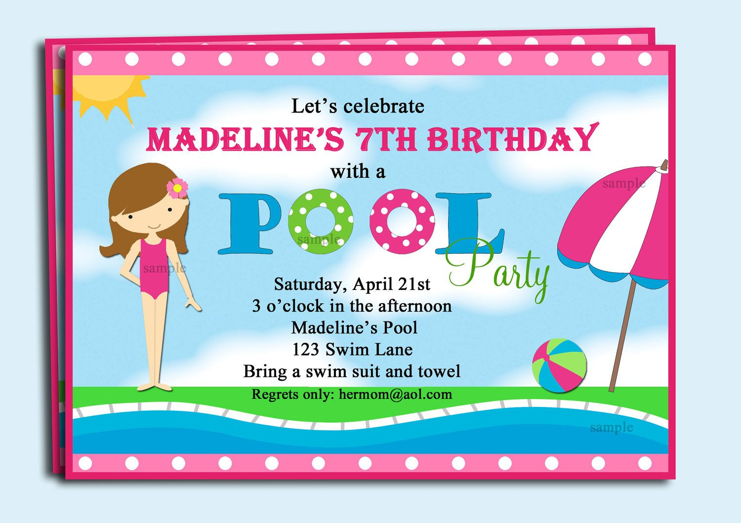 Pool Party Invitation Printable or Printed with FREE SHIPPING - You ...