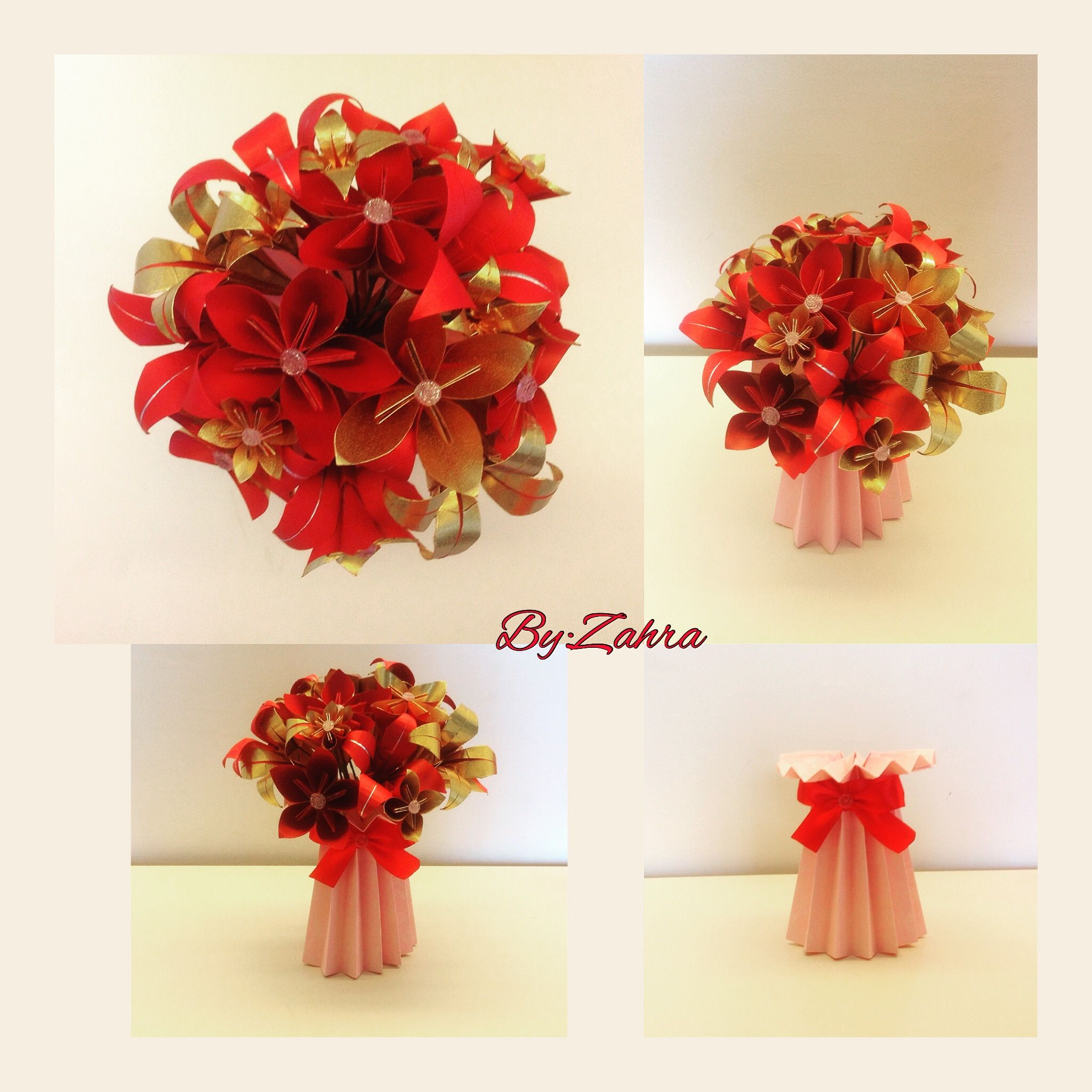Origami flowers and vase for Chinese New Year ...