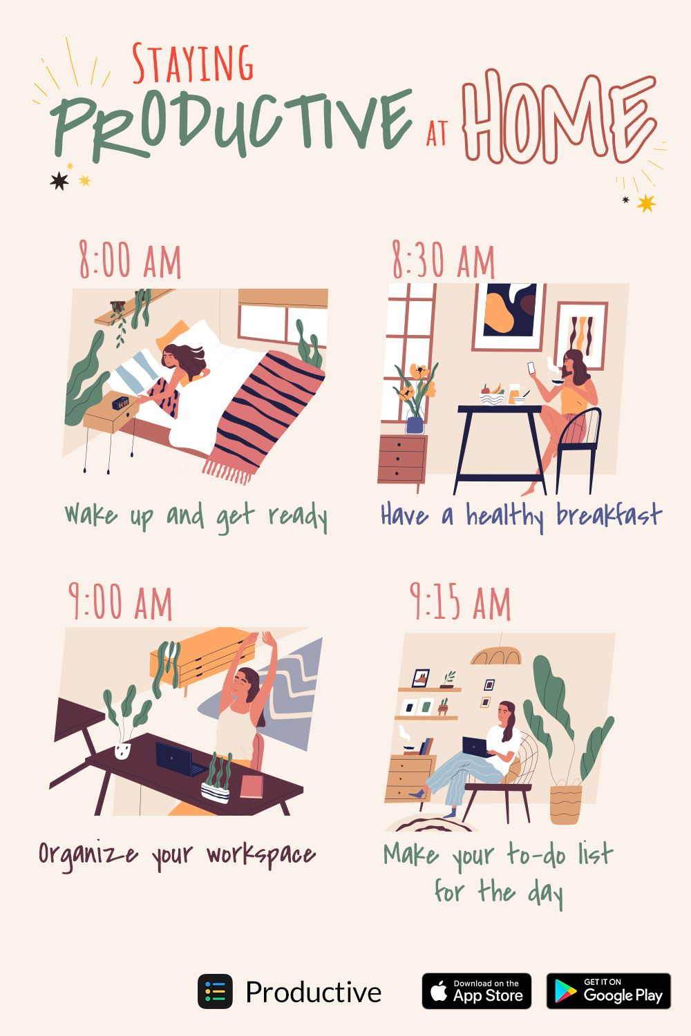How to stay productive at home?