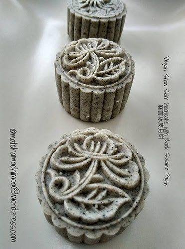 vegan 'snow skin' mooncake with black sesame paste 黑芝麻冰皮月饼