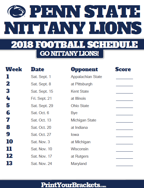 2018 Printable Penn State Nittany Lions Football Schedule Penn State Football Schedule Penn State Nittany Lions Penn State Nittany Lions Football