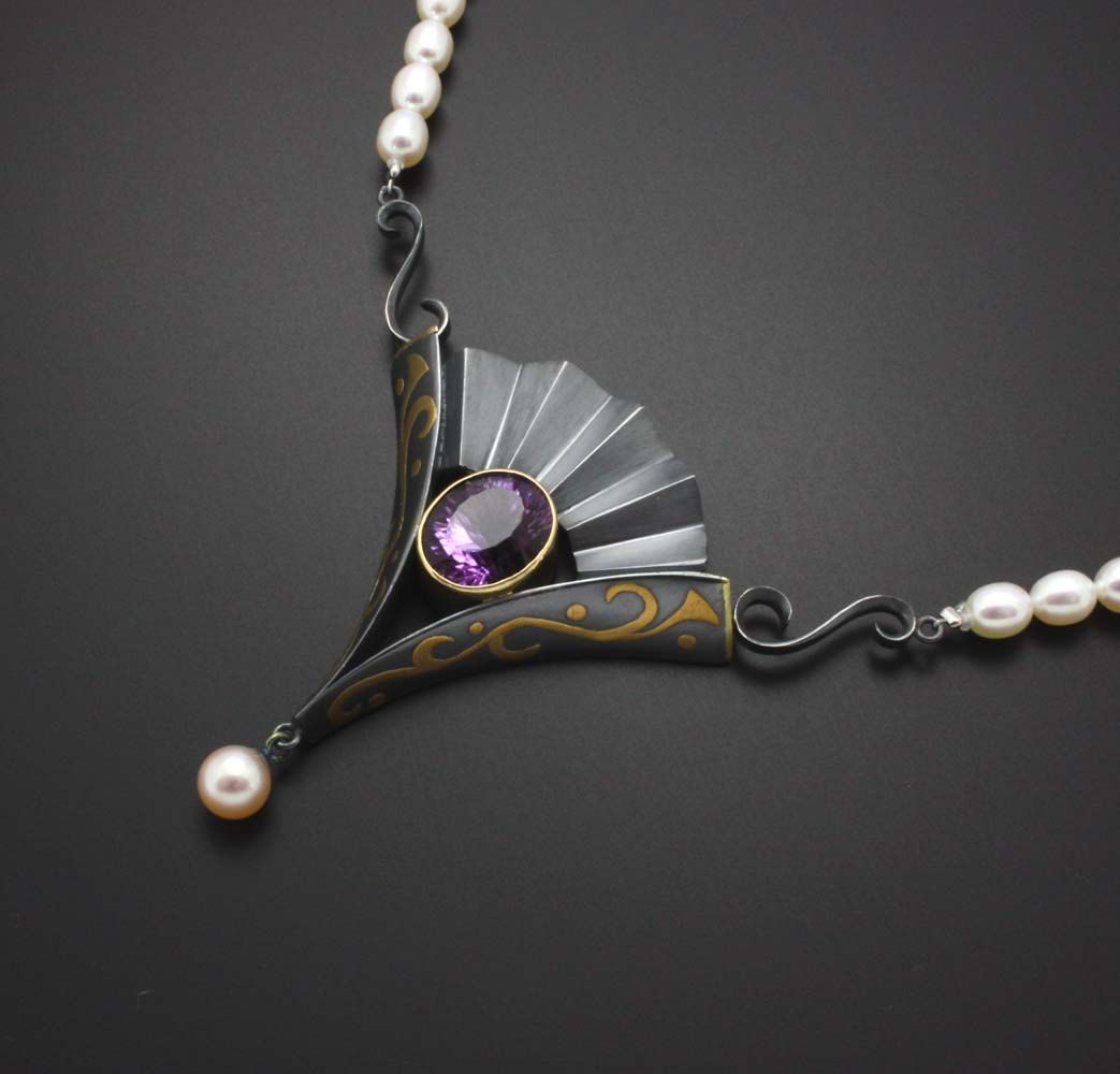 KAZism - Amethyst, black silver and gold pendant with pearl necklace. via Etsy.