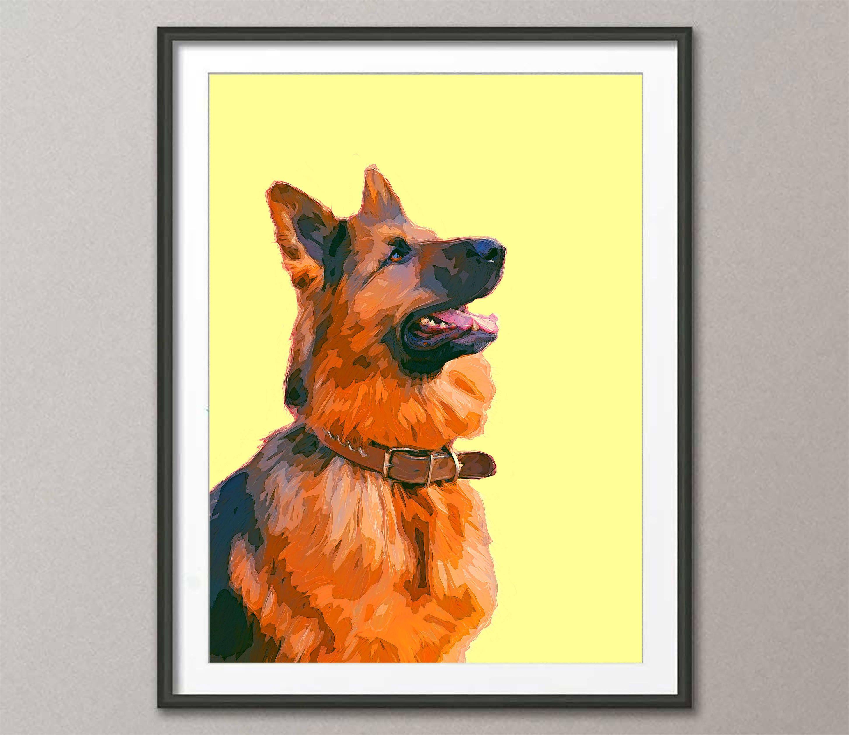 Fine Art Print, art print German shepherd, painting art, wall art ...