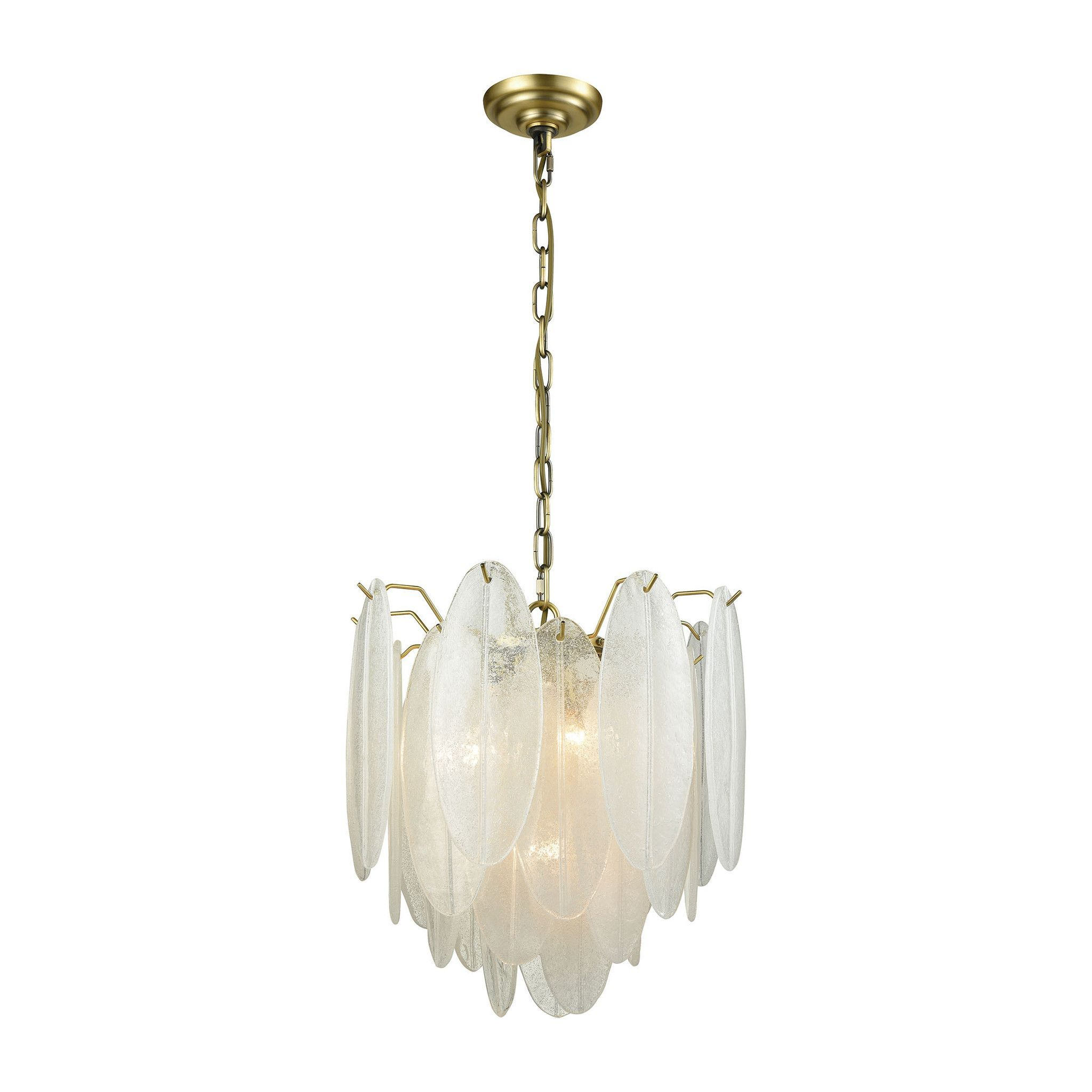 Hush Pendant Chandelier Small in White Finish Handcrafted