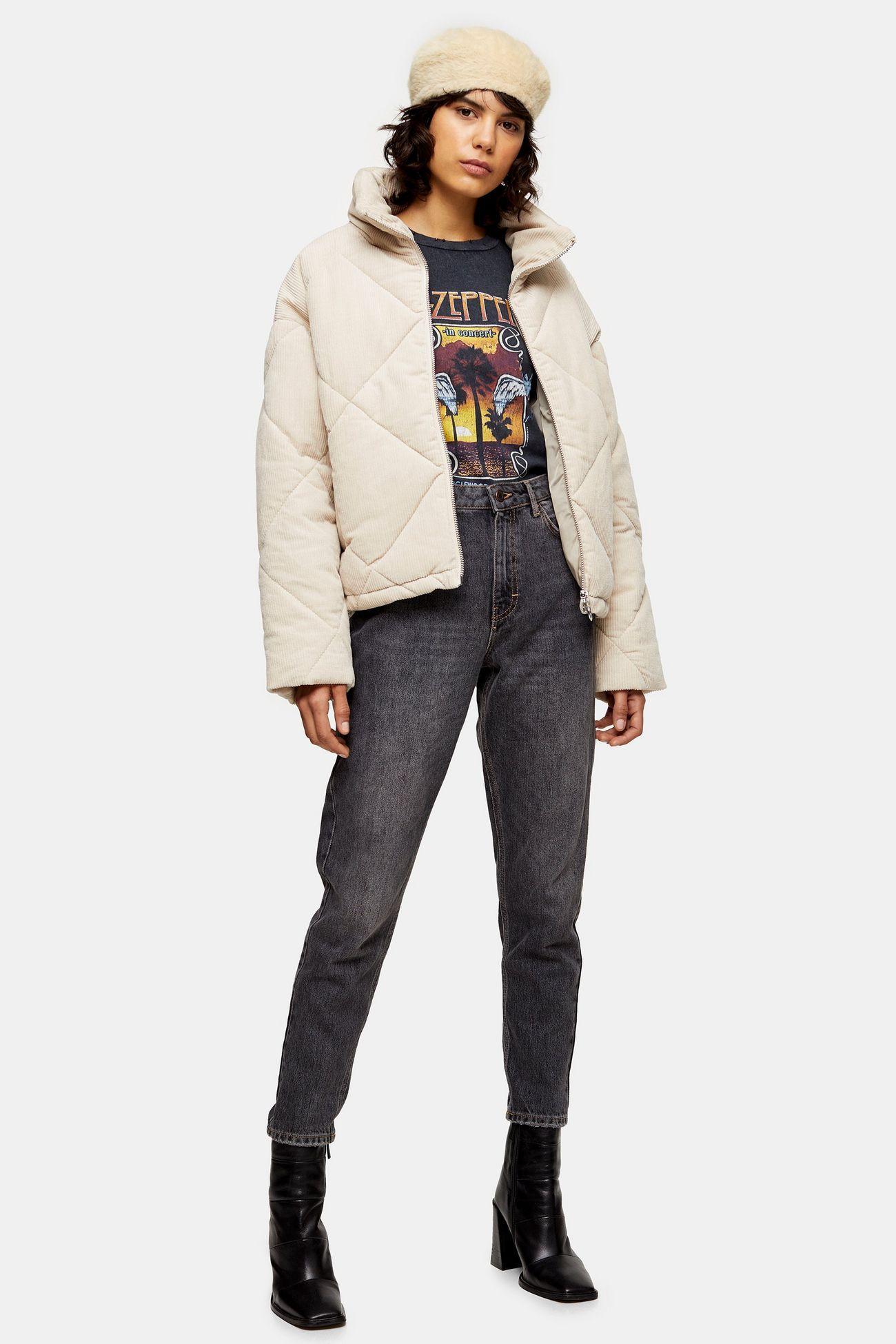 Ecru Corduroy Puffer Jacket | Puffer jackets, Jeans outfit ...