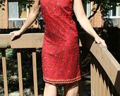 Vintage 70s Red Beaded Silk Dress – Empire – Oriental – Embroidered - Express – Size 5