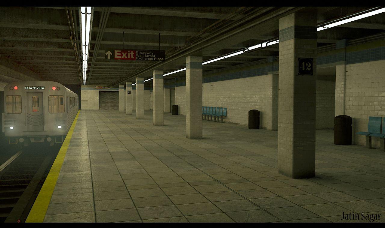 Subway Interior Final Render Modeling,Texturing and Lighting in Maya