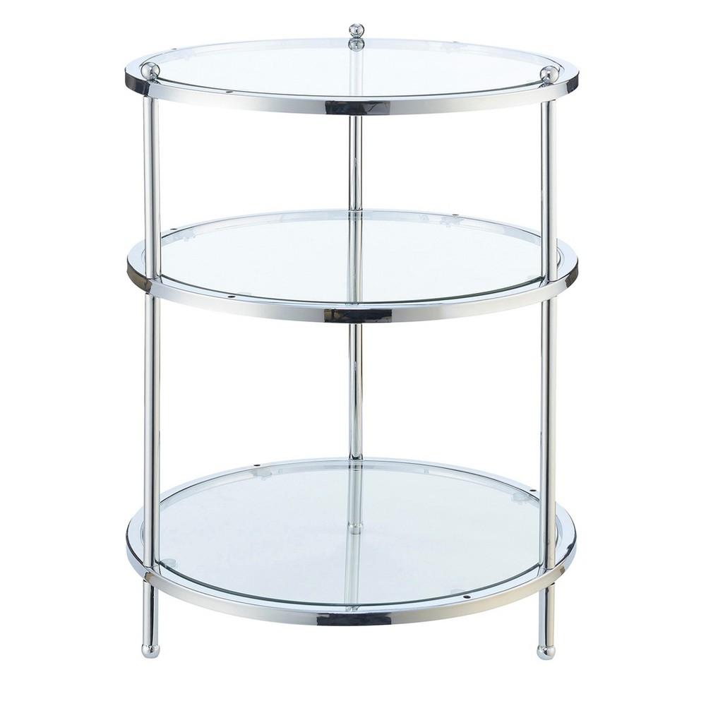 Royal Crest 3 Tier Round End Table Chrome Glass Johar Furniture End Tables Convenience Concepts Glass End Tables