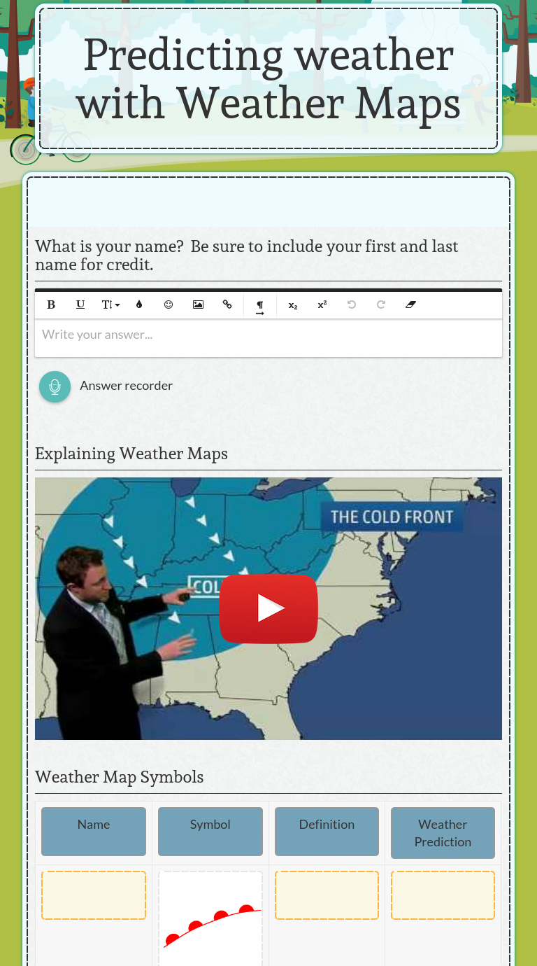 Use This Wizer Blended Worksheet Predicting Weather With