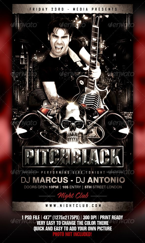 Pitch Black Flyer  Template Flyer Design Templates And Party Poster