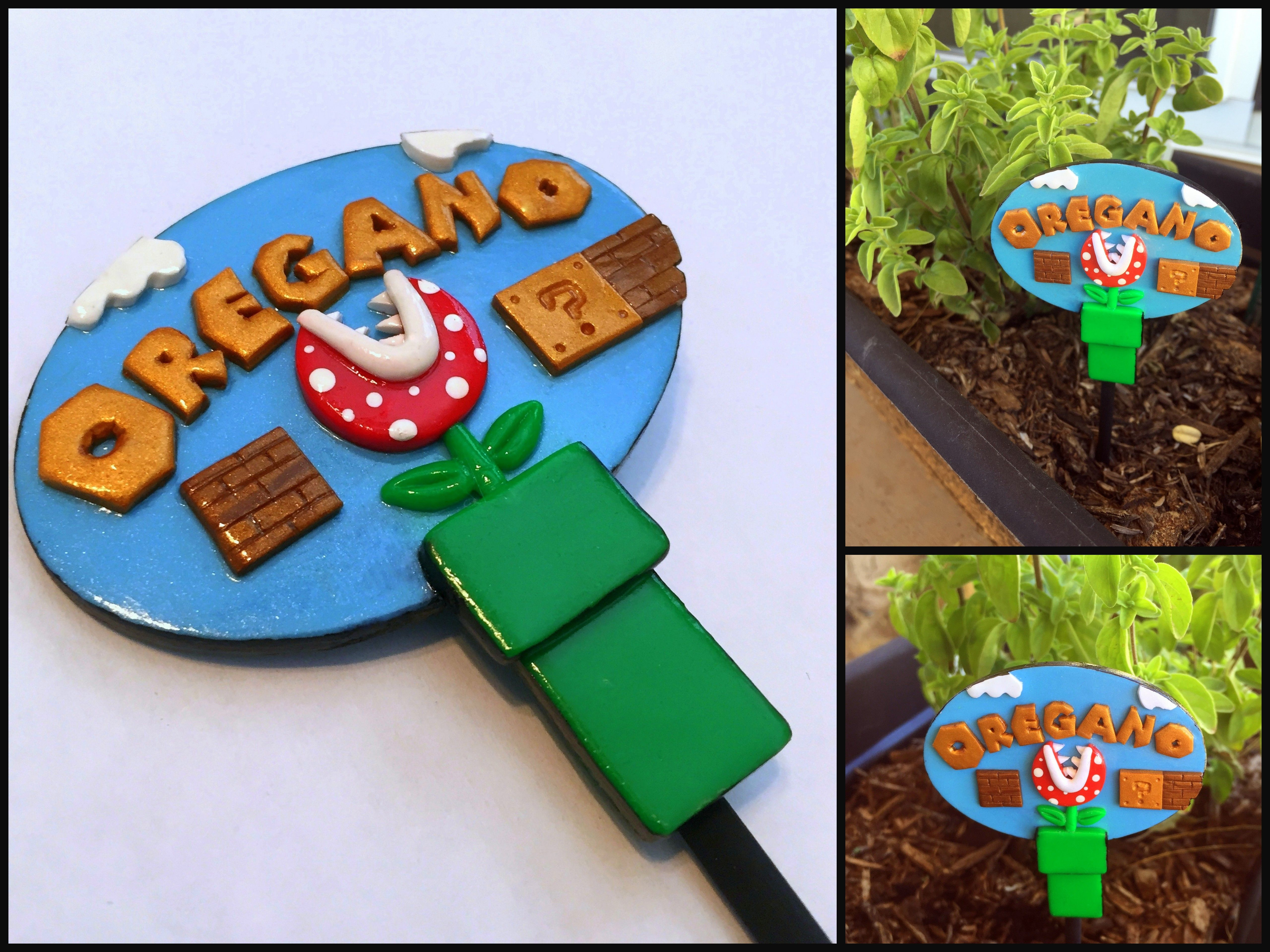 Mario Themed Oregano Garden Marker by Elven Star Clayworks - The Pavelka Project 2015