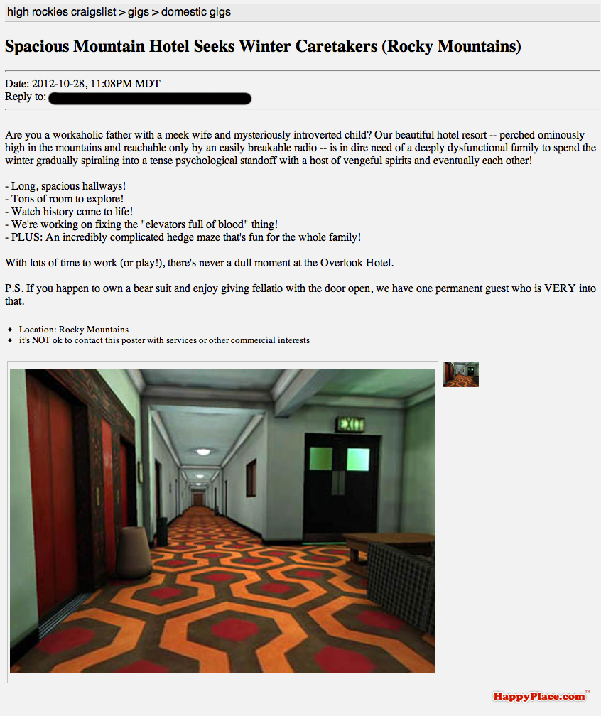 If famous horror movies were told through Craigslist ads