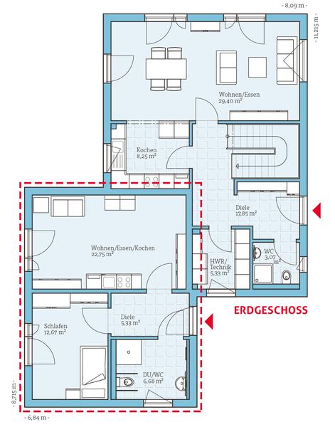 Einfamilienhaus mit kleiner einliegerwohnung grundriss  Häuser mit Einliegerwohnung | stommelhaus | Pinterest | Haus mit ...