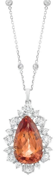 Imperial topaz pendant with diamonds and white gold and diamond imperial topaz pendant with diamonds and white gold and diamond chain aloadofball Image collections
