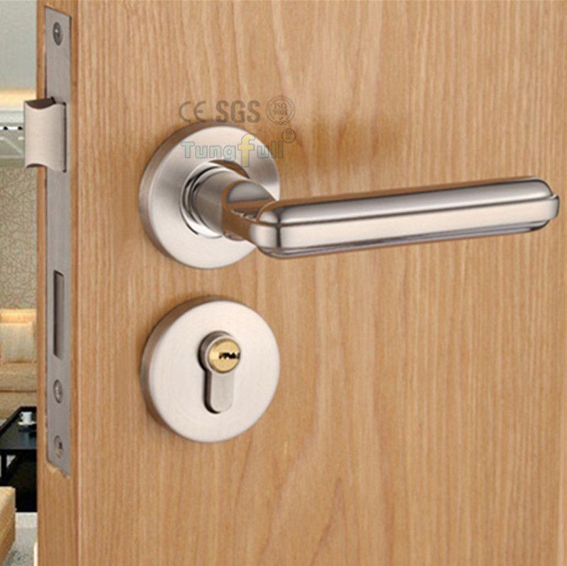 Steel Alloy Stealth Interior Locks European Bedroom Bathroom Livingroom Hardware Door Lock Wooden Stainless Steel Door Handles Wood Doors Interior Door Handles