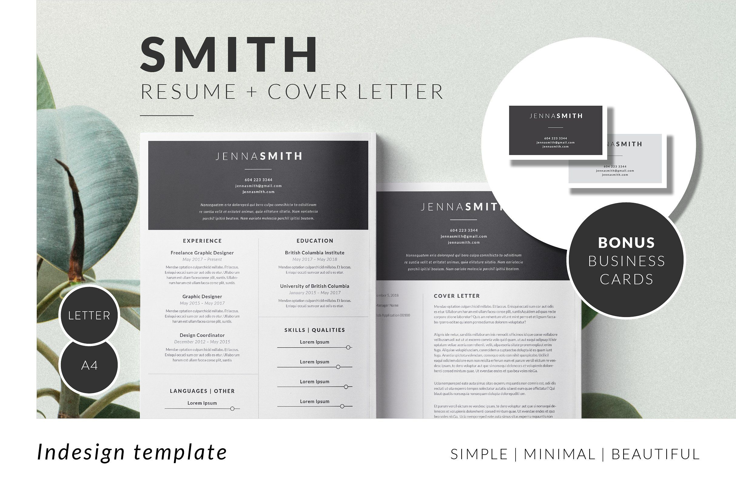 SMITH Minimal Resume Template #INDD#download#IDML#files