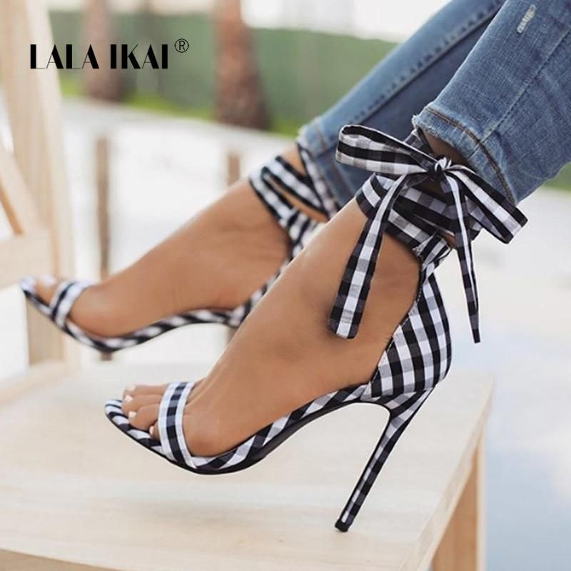 b5f613cf70 LALA IKAI Scottish Plaid High Sandals Women Cross-Tied Heels Ladies Ankle  Strap Lace Up Party Bow High Shoes 014C1880-4