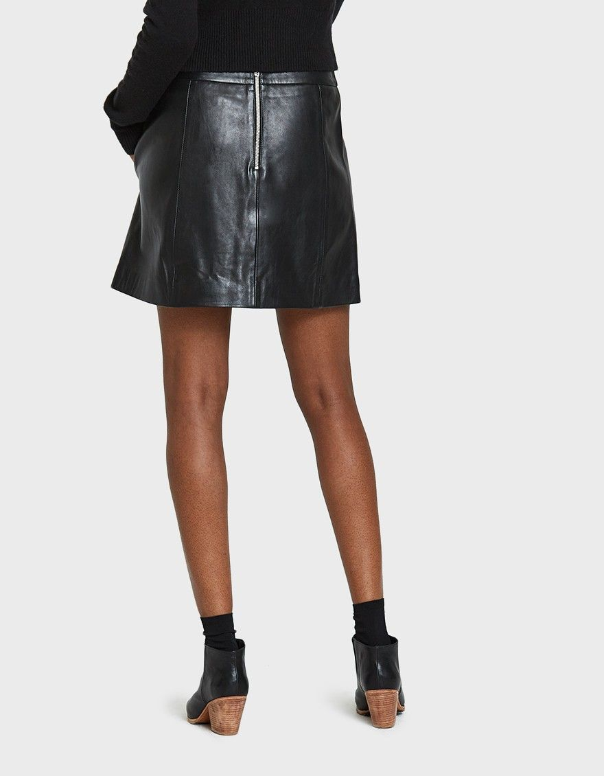 16133a92 Leather mini skirt from Ganni in Black