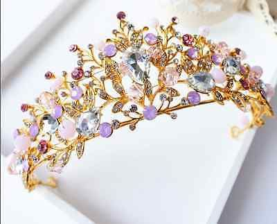Gold Vintage Wedding Bridal Headband Crown Tiara Crystal Hair Accessories for sale online | eBay