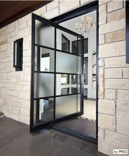 Metal And Glass Pivot Door Accent On Design Blog