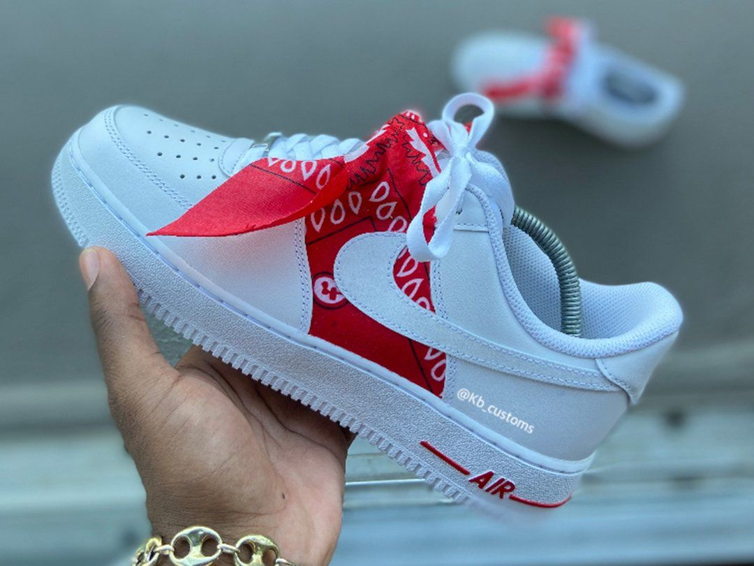 Custom Red Bandana Air Force 1s in 2020 Nike shoes air