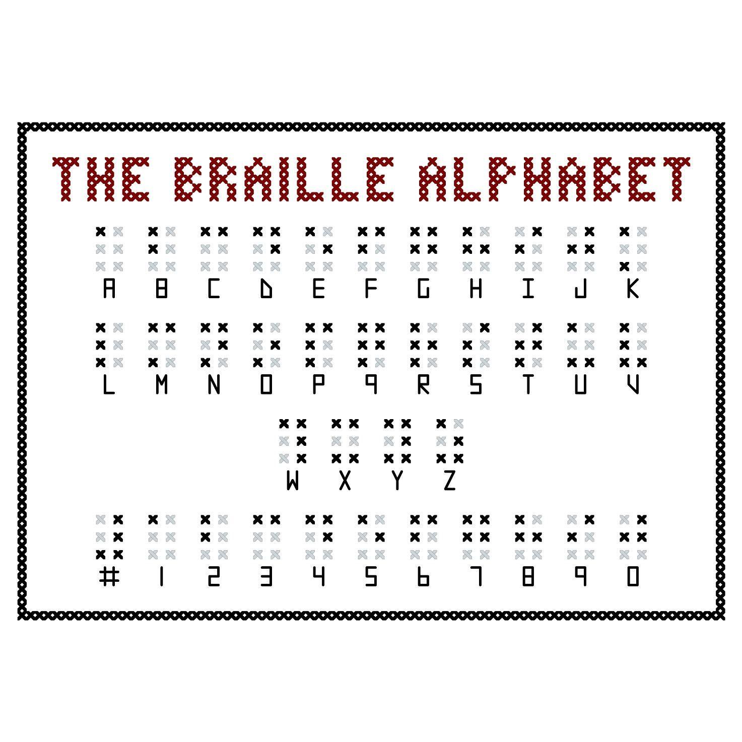 BRAILLE ALPHABET Cross Stitch Sampler Pattern. $5.00, via