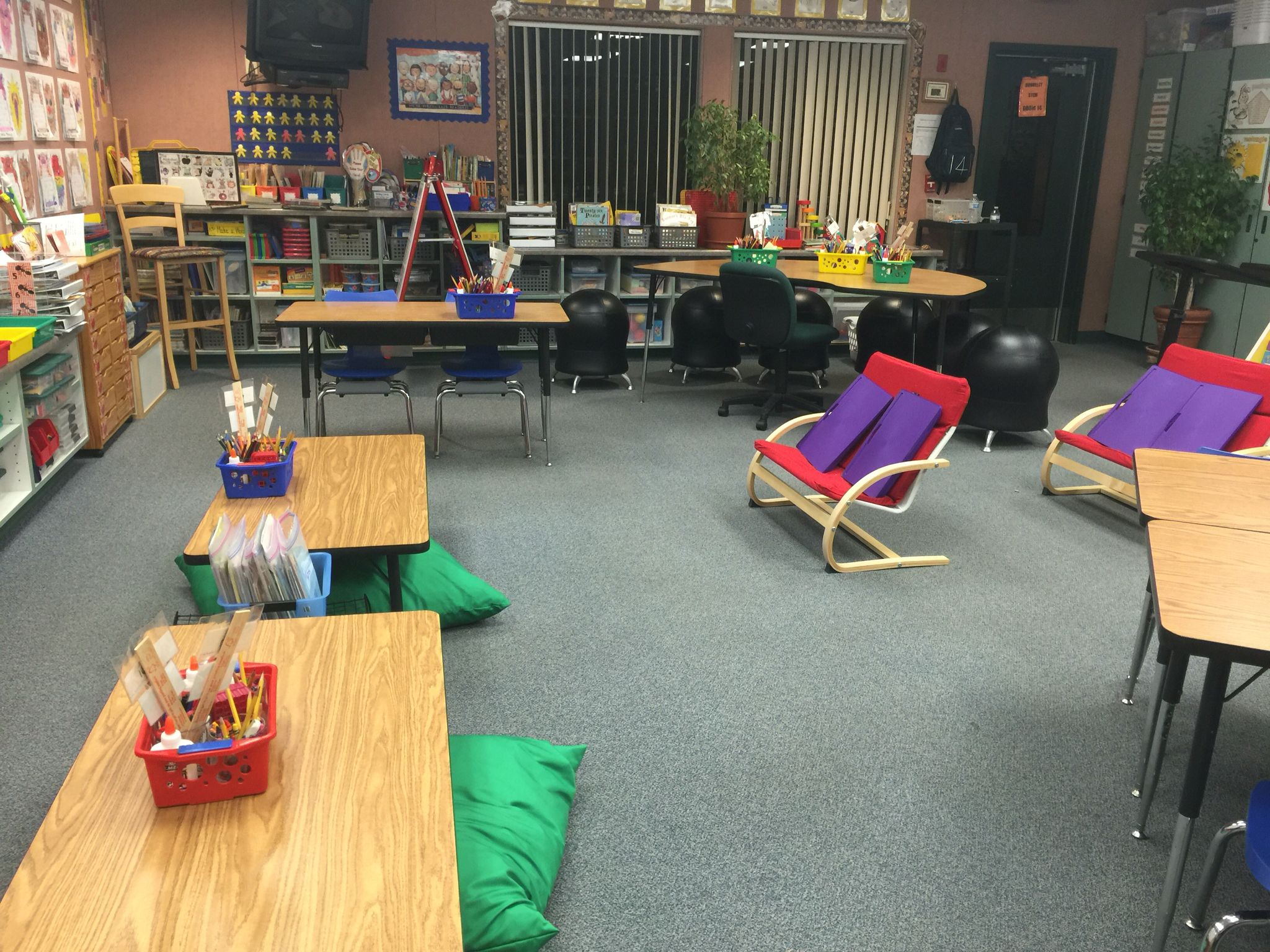 Another view of my class Short desks with floor pillows