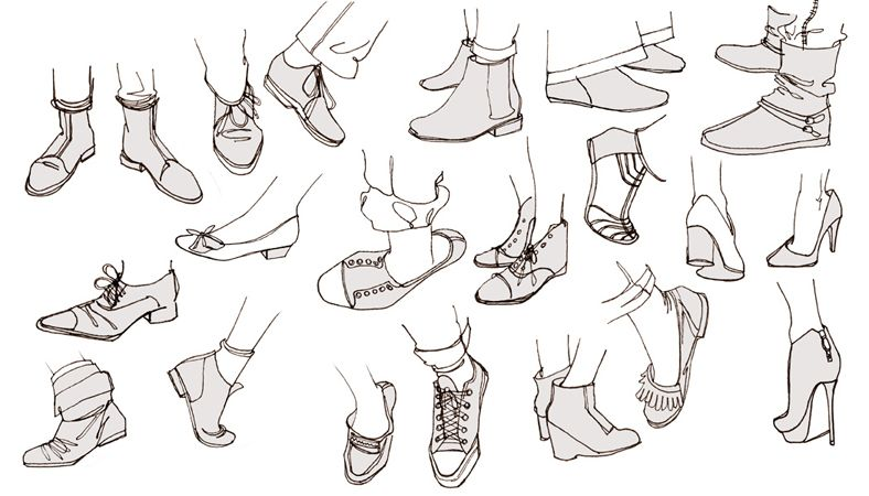 croquis pieds chaussures talons converse ballerines ...