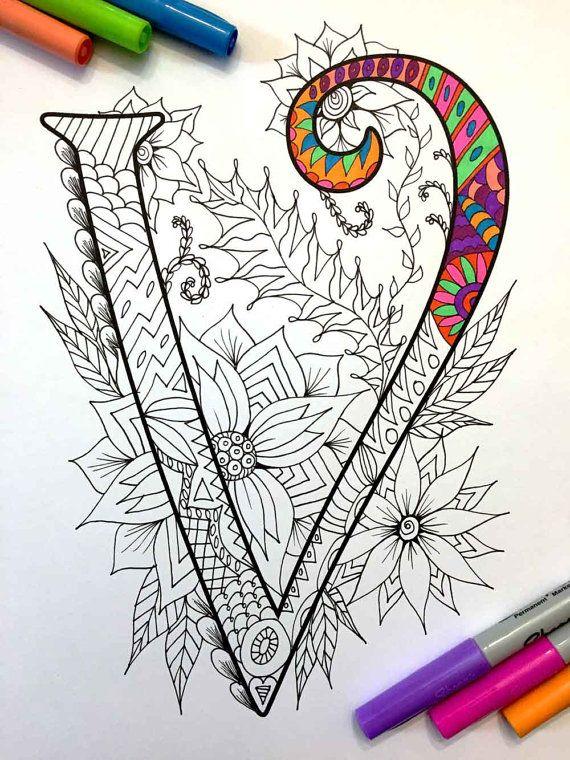 Letter V Zentangle - Inspired by the font \