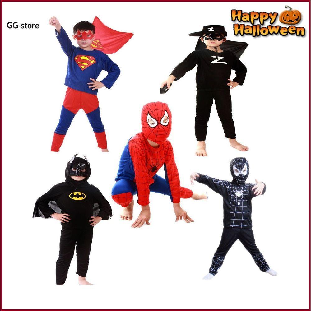 41ffe25d130d1 Superhero Costume Kids Batman Spiderman Superman Bo… | Halloween ...