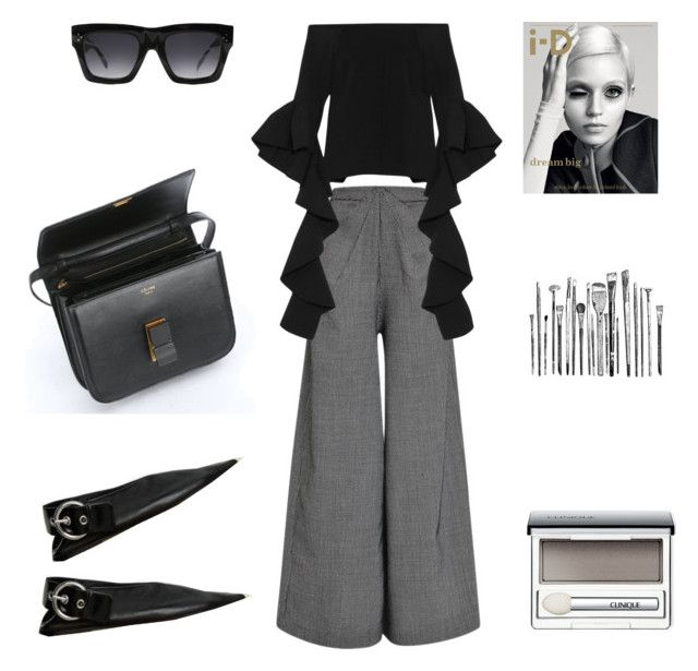 """Dynamics"" by fashionlandscape ❤ liked on Polyvore featuring Rosie Assoulin, E L L E R Y, Kershaw, CÉLINE and Clinique"