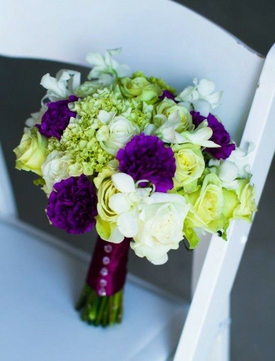 Green Purple Bouquet Wedding Lime Green Weddings Beach Wedding