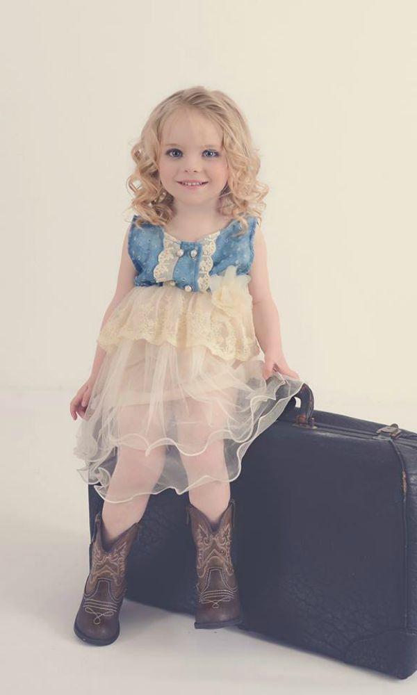 d12894a966f6 Eli s Denim Girl Dress - Ruffle   Cream