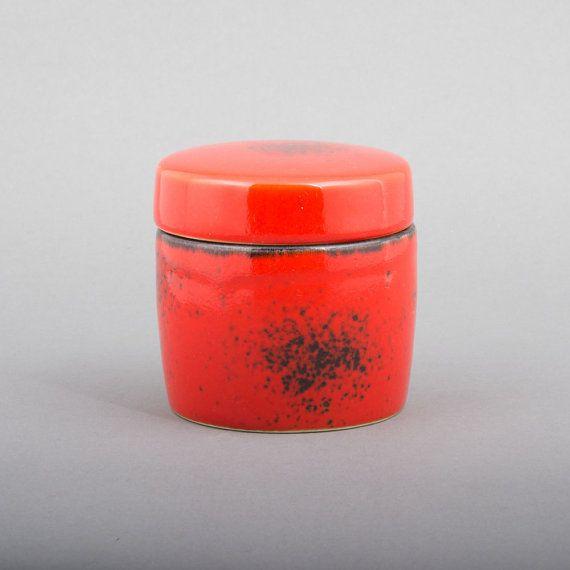Vintage Deckeldose Keramik Rot & Schwarz von welikevintage auf Etsy, €23.00