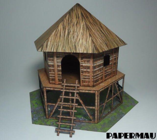 Pinterest Jungle Buildings: Elevated Jungle Hut Free Paper Model Download