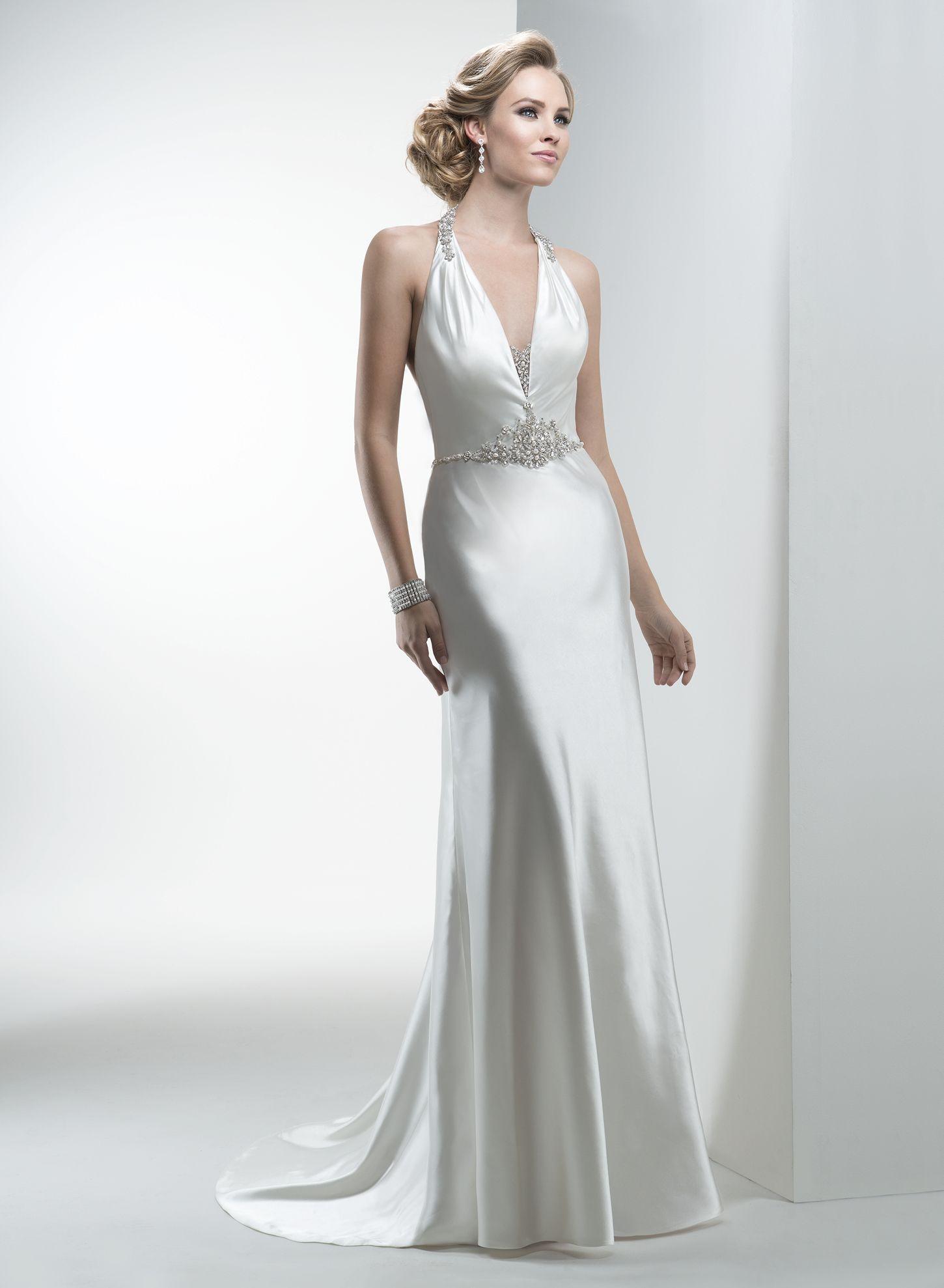 Vintage cowl neck wedding dress  Maggie Sottero Wedding Dresses  Maggie sottero and By
