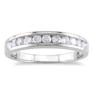 Miadora Sterling Silver 1 2ct TDW Channel Diamond Wedding Band By