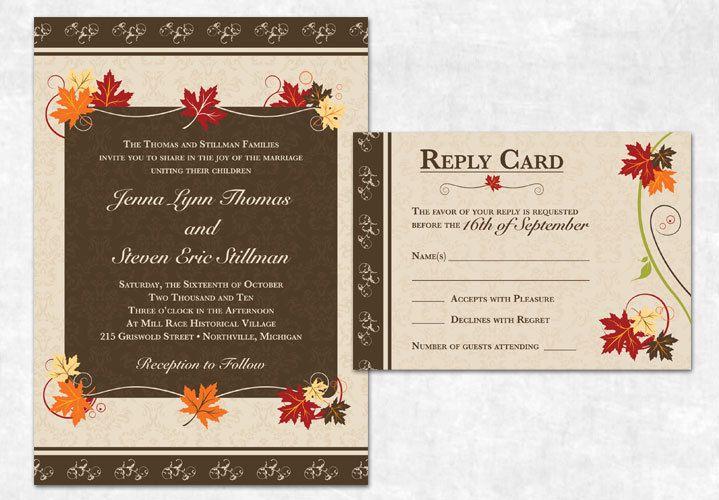 Printable Fall Wedding Invitation Autumn Fall Wedding Invitations Diy Fall Wedding Invitations Wedding Invitations