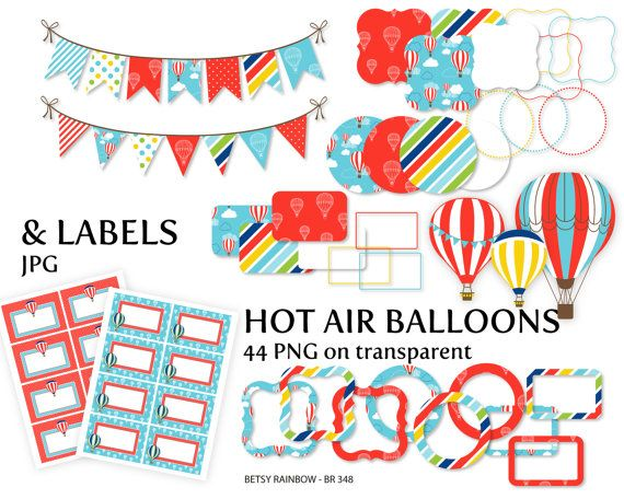Hot Air Balloons Frames And Cliparts Balloons Clipart Digital