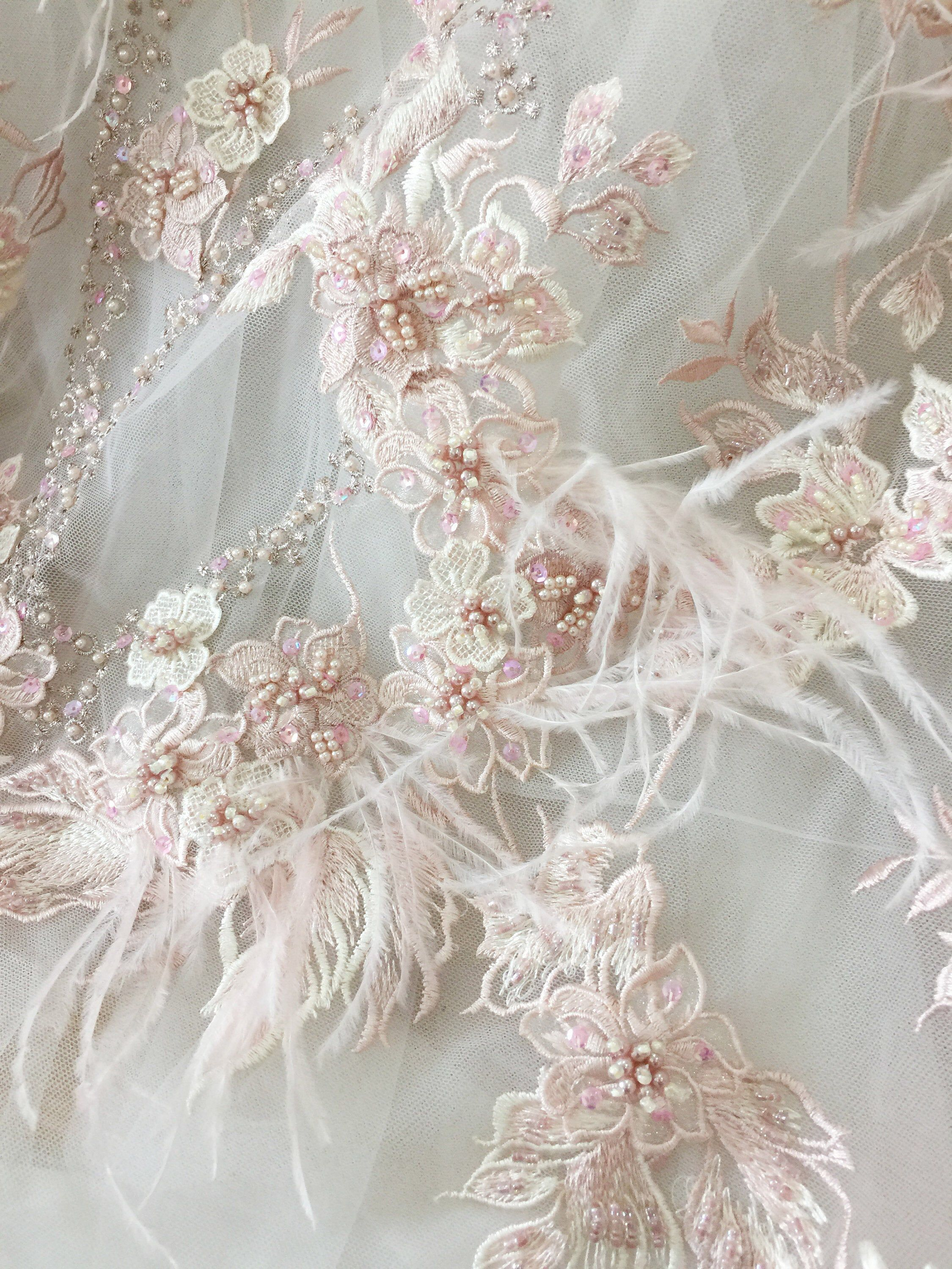 Excited To Share The Latest Addition To My Etsy Shop Luxury 3d Beaded Applique Fabric Wi Haute Couture Fabric Bridal Dress Fabric Wedding Dress With Feathers