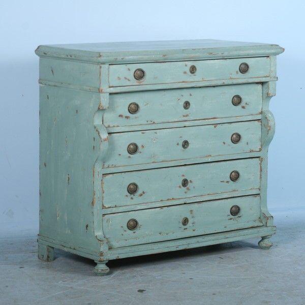 Antique Danish Pine Green Blue Chest Of Drawers Dresser
